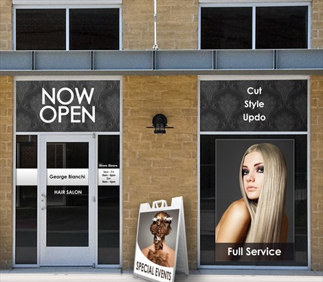 Hair beauty salon window advertising