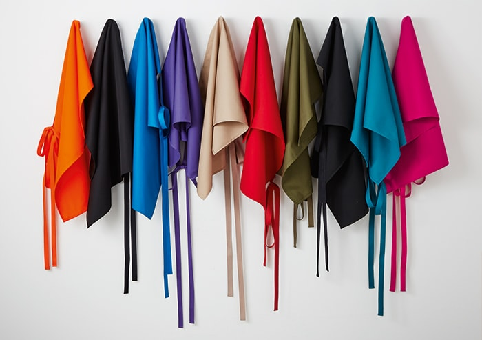 branded coloured aprons