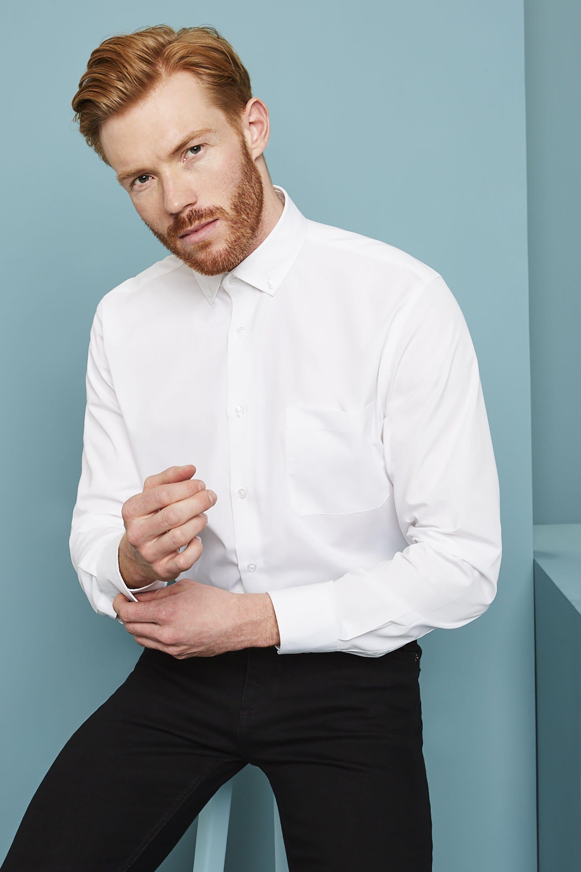 Hemd Herrenhemd Shirt Langarm Binder de Luxe Button-Down-Kragen 86006 weiß