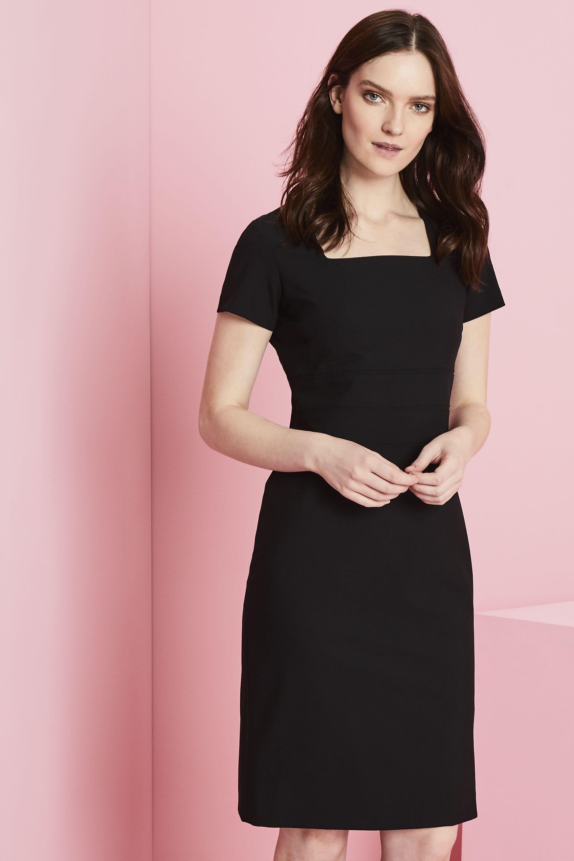 qualitas kleid mit karree–ausschnitt, schwarz
