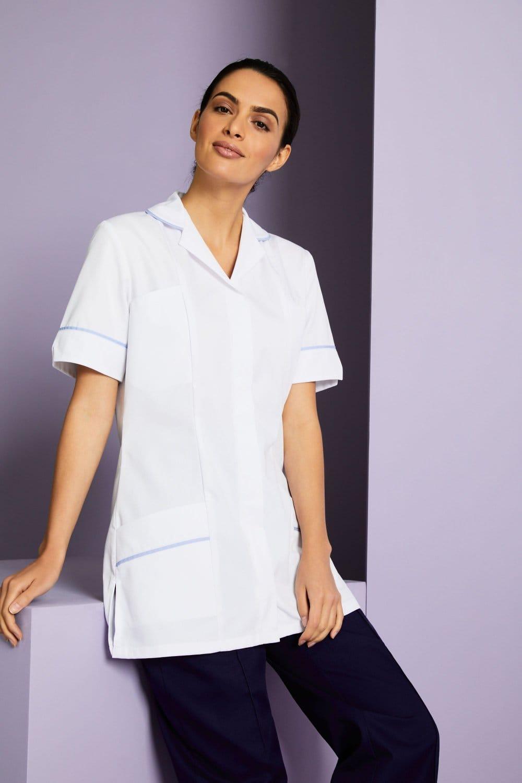 Couleur Avec Bleu Ciel blouse médicale blanche femme col classique, blanc avec liseré bleu ciel