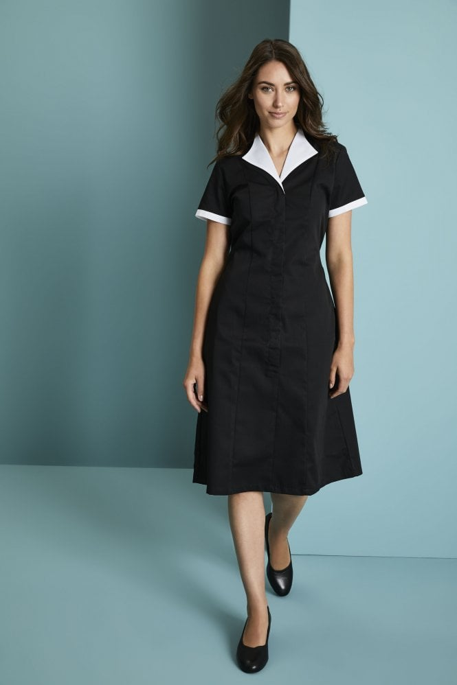 classic black and white housekeeping dress simon jersey