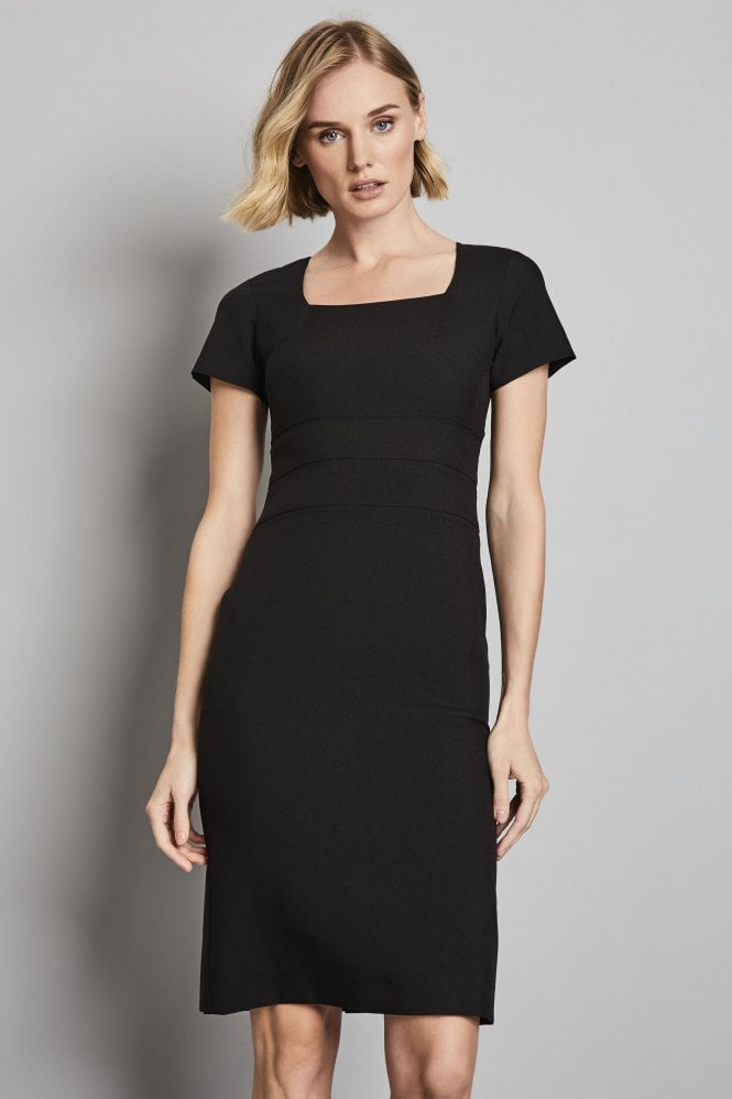 Essentials Black Semi-Fitted Square Neckline Dress