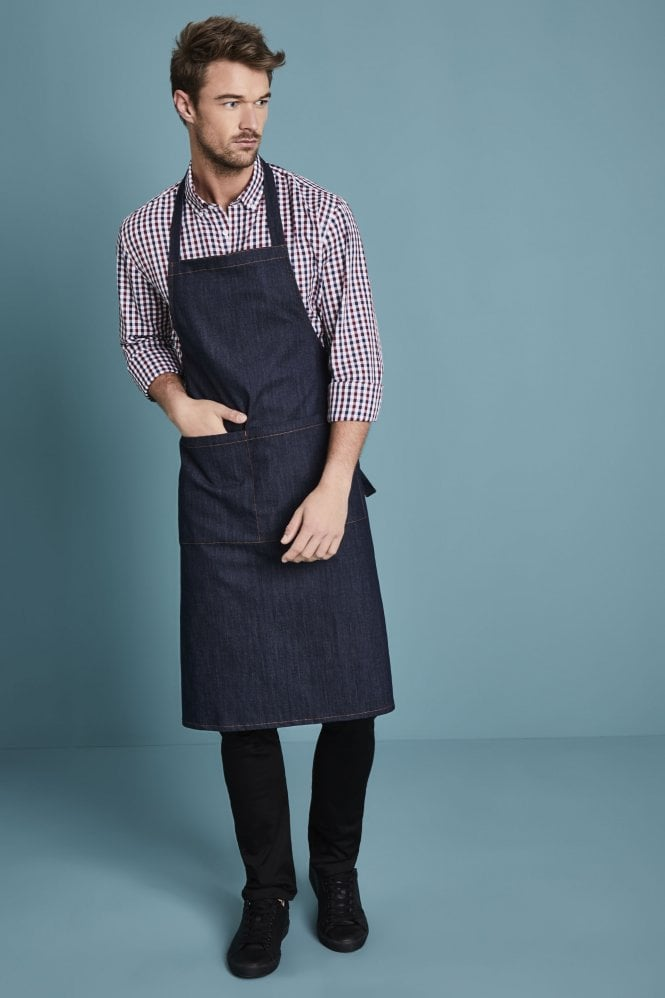 Essentials Denim Bib Apron, Blue