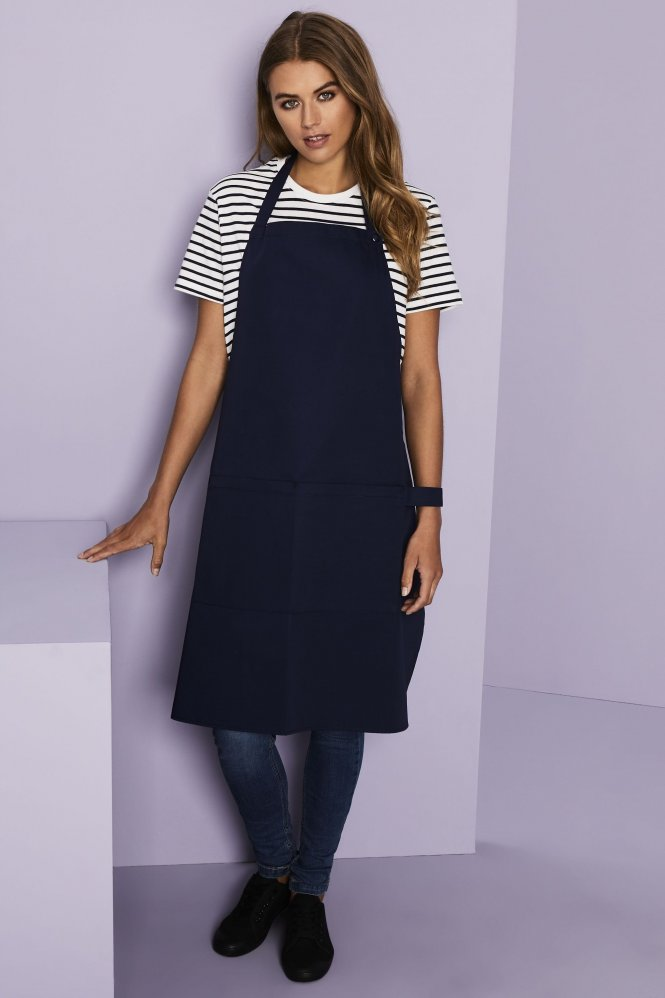 Essentials Popper Strap Apron with Pocket, Navy