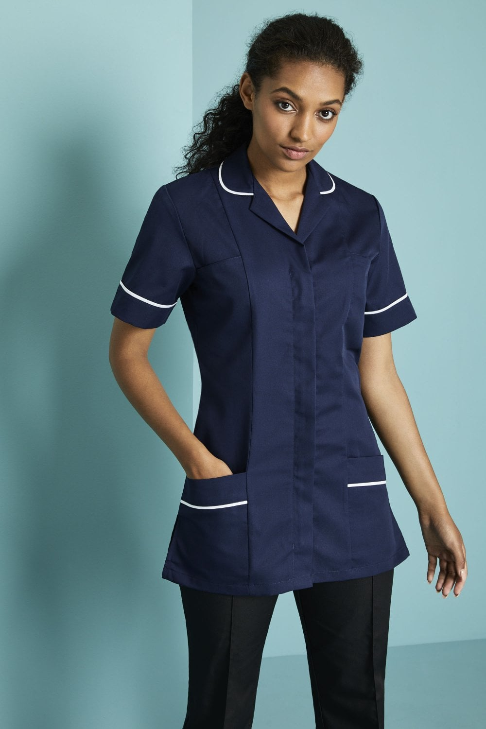 40b7cde4efe66 Essentials Women's Classic Hospital Blue Healthcare tunic With White Trim