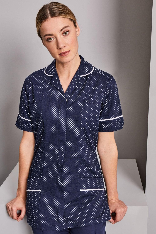 c2abd7c48b1 Women's Healthcare Tunic - Navy/White Spot with White Trim - Simon Jersey  Healthcare Uniforms
