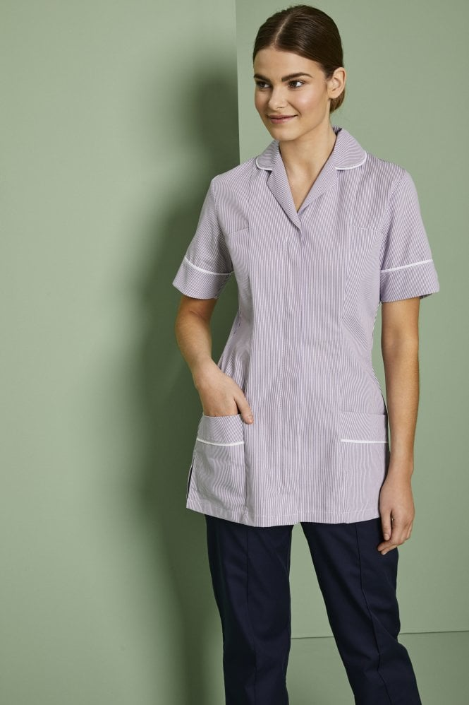 Essentials Women's Healthcare Tunic With Various Trim Colours - Striped