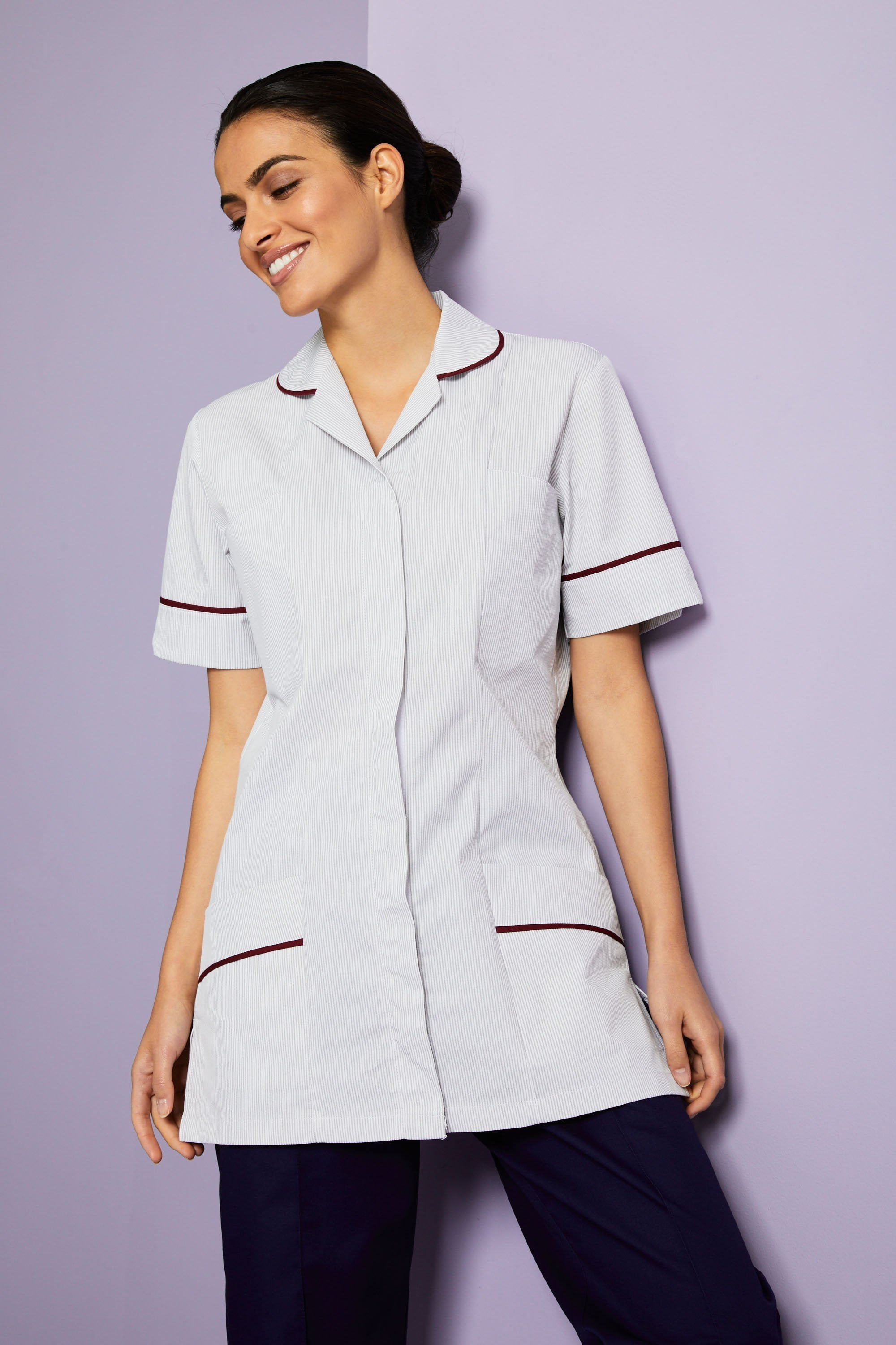 CLEANING Ladies Tunic Burgundy Stripe NURSES CARE HOME UNIFORM