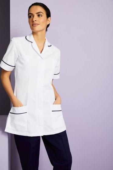 b7982391376 Simon Jersey Essentials Women's White Healthcare Tunic - With Various Trim  Colours