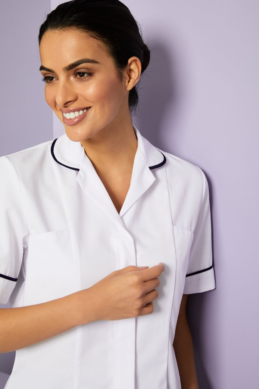 ce3f93e22eb10 Essentials Women's White Healthcare Tunic - With Various Trim Colours