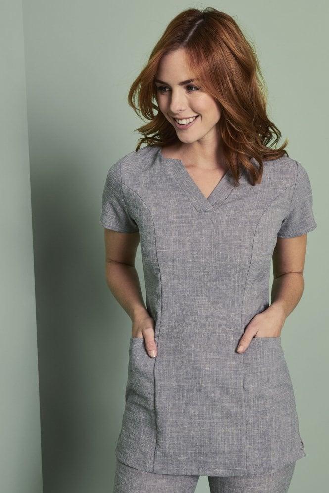 Linen blend v neck tunic simon jersey hospitality uniforms for Spa uniform grey