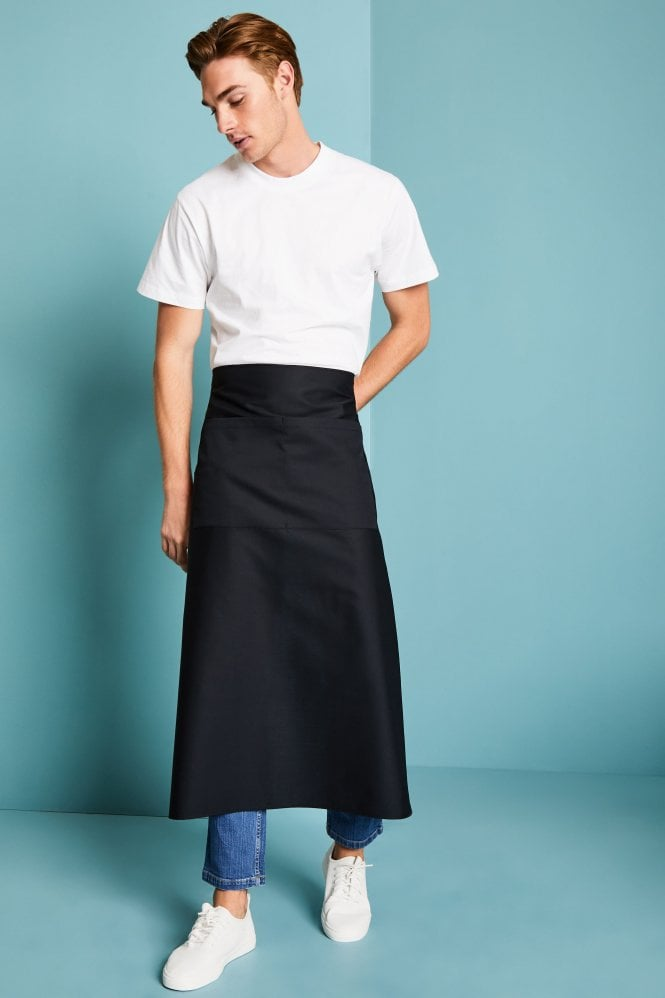 Long Black Apron with Pocket