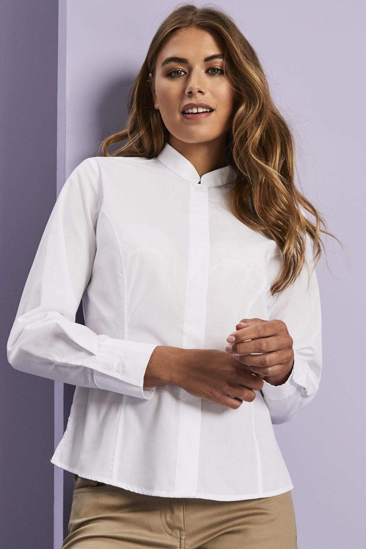 c0153a93958094 Long Sleeve Mandarin Collar Blouse - Simon Jersey Corporate Uniforms