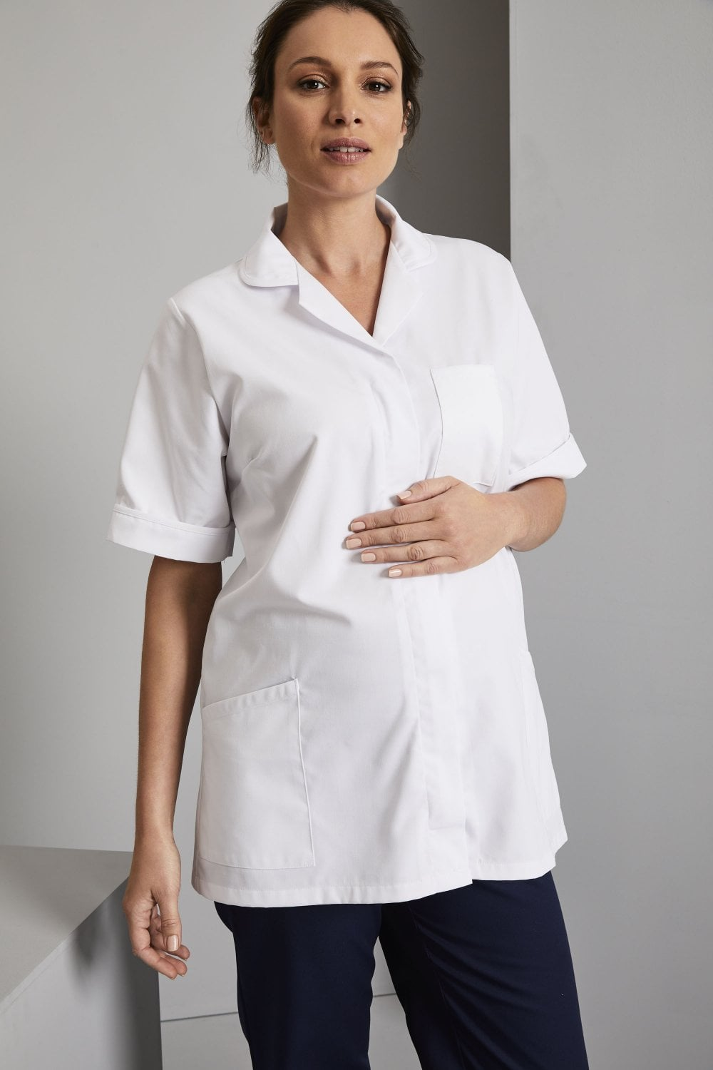 f78b72a700b72 Maternity Tunic with Concealed Zip- Simon Jersey Salon Uniforms