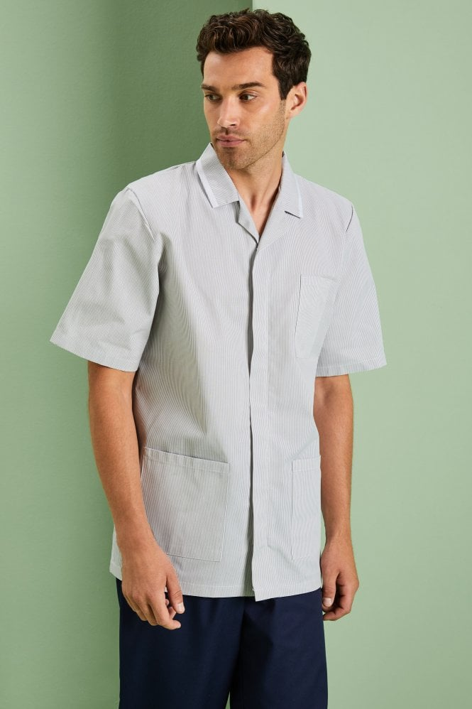 Men's Healthcare Tunic - Pale Grey Striped Pattern with White Trim