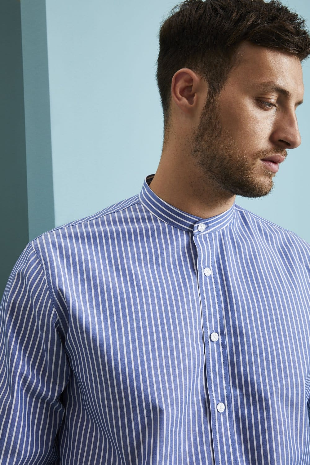 Superb Mens Long Sleeve Banded Collar Shirt Navy Stripe Shop All From Schematic Wiring Diagrams Amerangerunnerswayorg