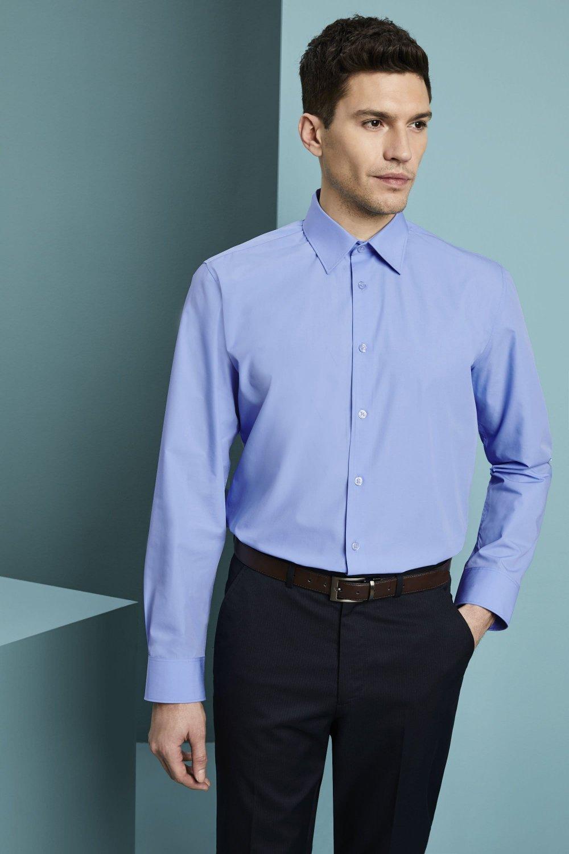 Men\u0026#39;s Long Sleeve Polycotton Business Shirt, Blue