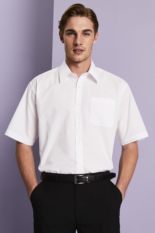 Men S White Short Sleeve Classic Collar Shirt