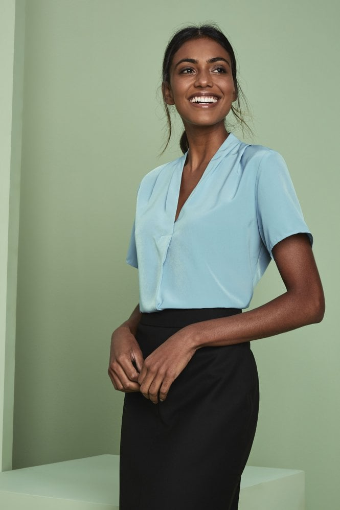 Pleat Shoulder V-Neck Blouse