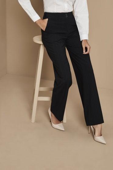 f97be85190c4 Qualitas Polywool Straight Leg Pinstripe Trousers · Navy Duo Stripe