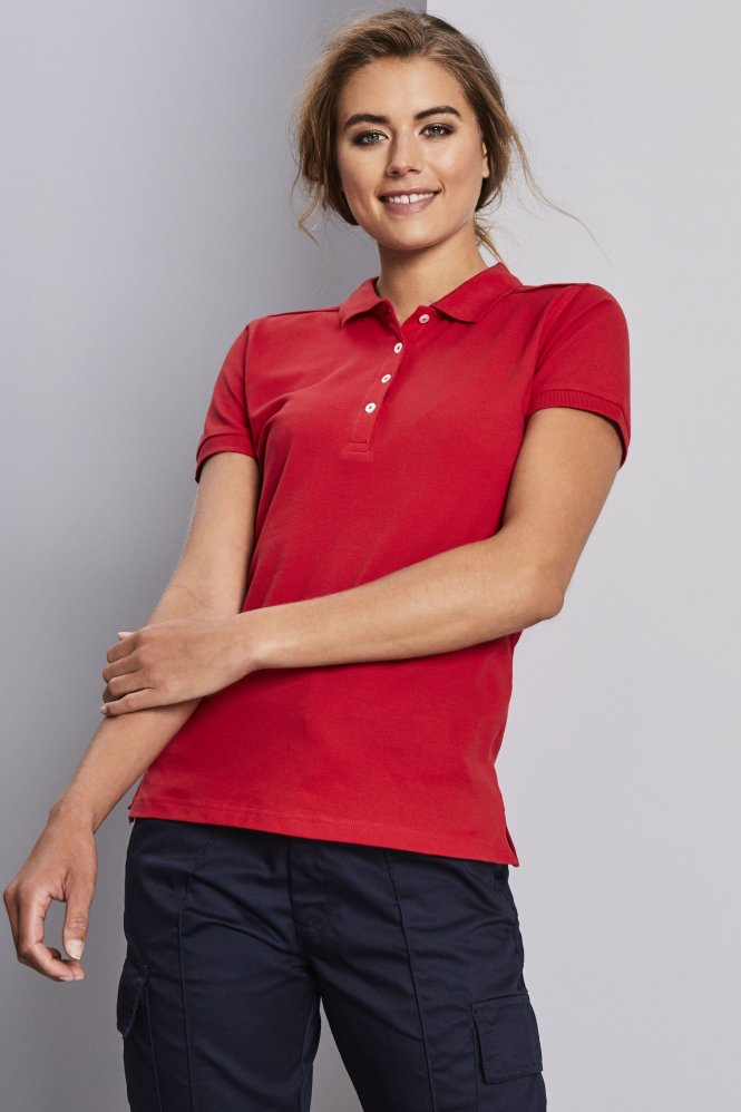 Russell Women's Stretch Polo Shirt, Red