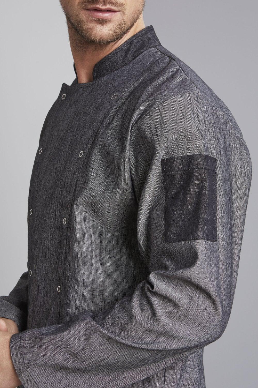 Men S Pale Grey Denim Chef S Jacket Simon Jersey Hospitality