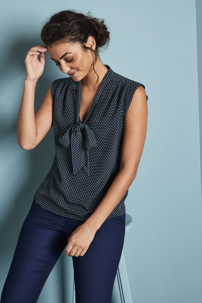 Women's Tie Neck Sleeveless Blouse, Navy