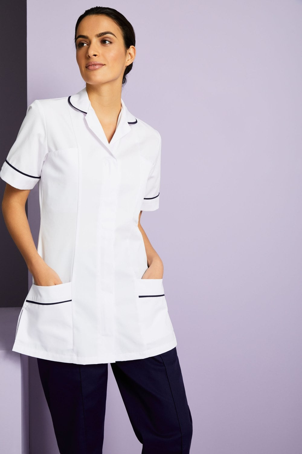 Women 39 s white healthcare tunic with various trim colours for White spa uniform uk
