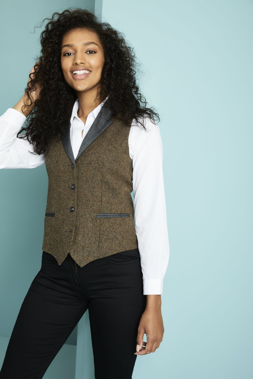 Women S Wool Tweed Waistcoat Simon Jersey Hospitality