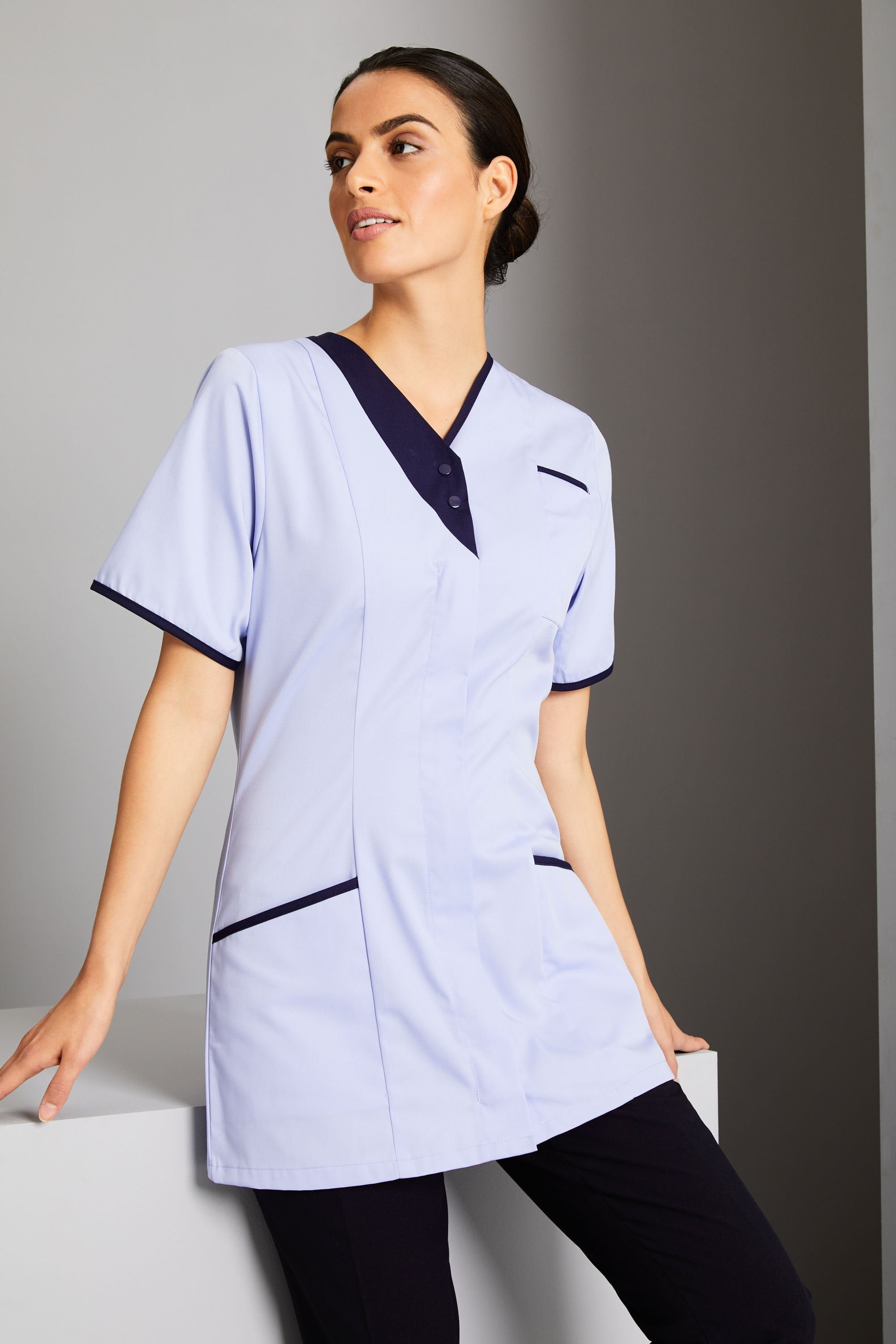 SIZES UK 8-20 LADIES NAVY CONCEALED ZIP FRONT MEDICAL HEALTHCARE NURSE TUNIC
